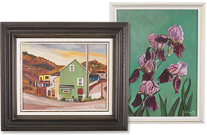 New Uses artwork of small town in a brown frame and irises in a while frame