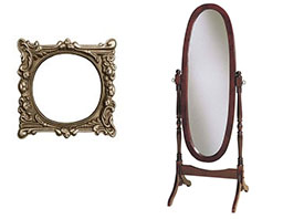 New Uses two mirrors against white background, one gold with ornate details with circle mirror in center, the other is a standing oval mirror that swings on a wood stand