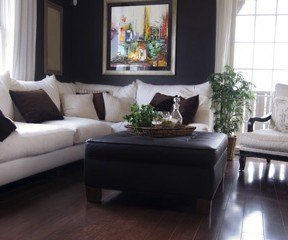 New Uses Living Room With Dark Wood Floor, White Couch With Dark Grey  Pillows