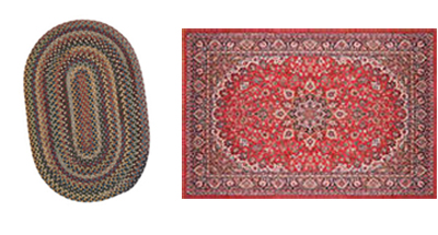 New Uses rugs: one oval-shape with oval stripes in many colors, the other a red rectangle with many different shapes in the pattern, exotic design