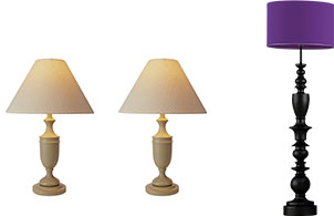 New Uses two matching off-white tabletop lamps next to a tall black floor lamp with a purple shade against white background