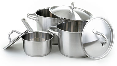 New Uses group of two Dutch oven pots and a sauce pan with lids, all stainless steel