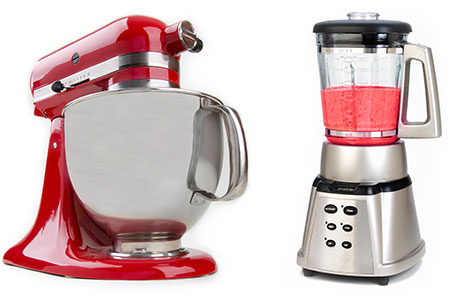 New Uses kitchen appliances: red Kitchenaid stand mixer and stainless steel blender with red blended drink inside
