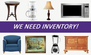 New Uses group of items that the store is buying: side table, coffee maker, lamp, microwave, side chair, artwork, blender, sideboard cabinet