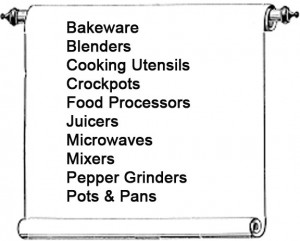 New Uses graphic of scroll with text that says bakeware, blenders, cooking utensils, crockpots, food processors, juicers, microwaves, mixers, pepper grinders, pots and pans