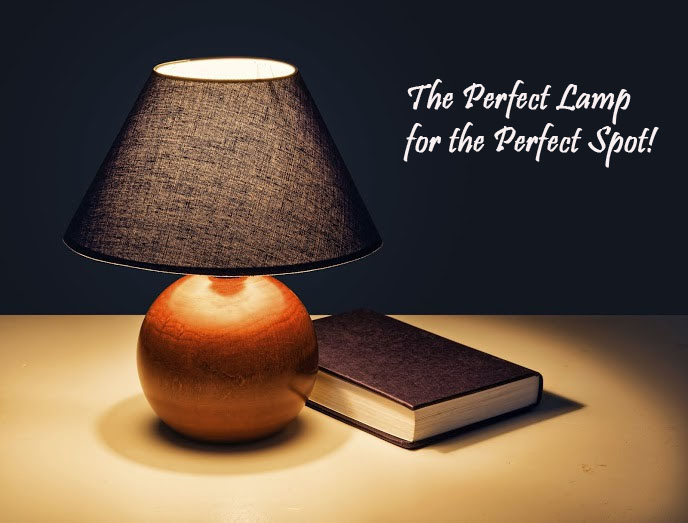 New Uses lamp with book on table with text that says the perfect lamp for the perfect spot