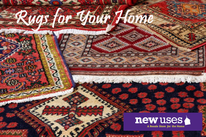 New Uses rugs with logo and text that says rugs for your home