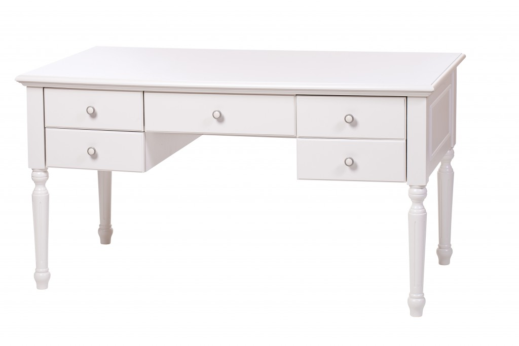 New Uses white painted desk with decorative legs and five drawers
